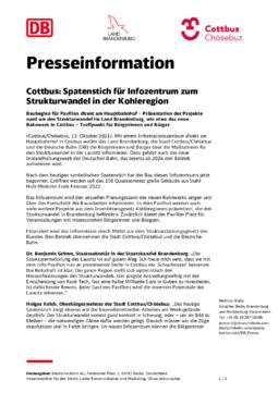 Presseinformation- Spatenstich Infozentrum der Stadt Cottbus/Chóśebuz